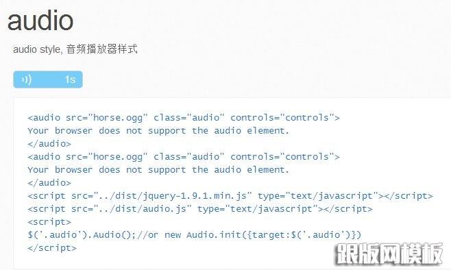 先给大家介绍下HTML5中的新元素标签 src:音频文件路径。 autobuffer:设置是否在页面加载时自动缓冲音频。 autoplay:设置音频是否自动播放。 loop:设置音频是否要循环播放。 controls:属性供添加播放、暂停和音量控件。 由于html5的流行,现在移动端大多数的需求都可以使用audio来播放音频,但您可能只是需要很简单的播放/停止效果,但不同的浏览器上的audio样式却不尽人意,所以我简单的把它进行了封装,效果如下:  作为技术实现,它的原理比较简单,就是把原生的audio隐