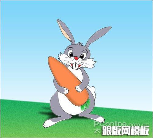 ps鼠绘可爱的卡通小灰兔